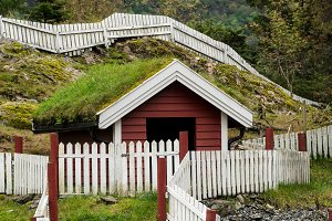 Grass turf used as roofing material on Norwegian stable