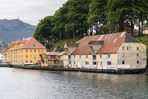 Old wooden warehouse near Bergen Norway