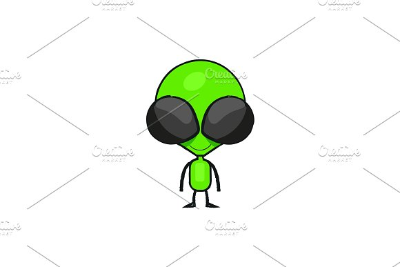 Cute cartoon alien drawing.