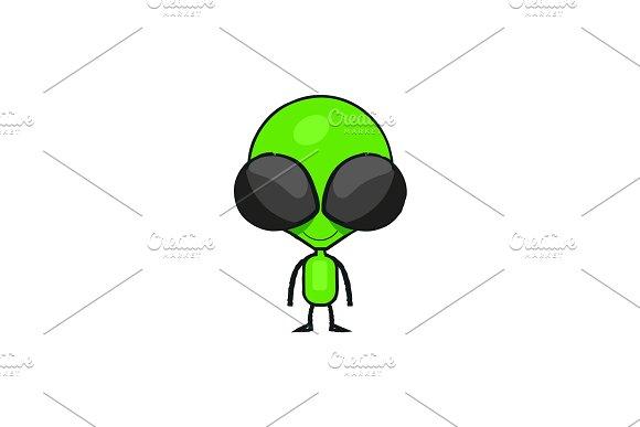 Cute cartoon alien drawing.
