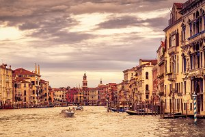 Grand Canal at sunset in Venice