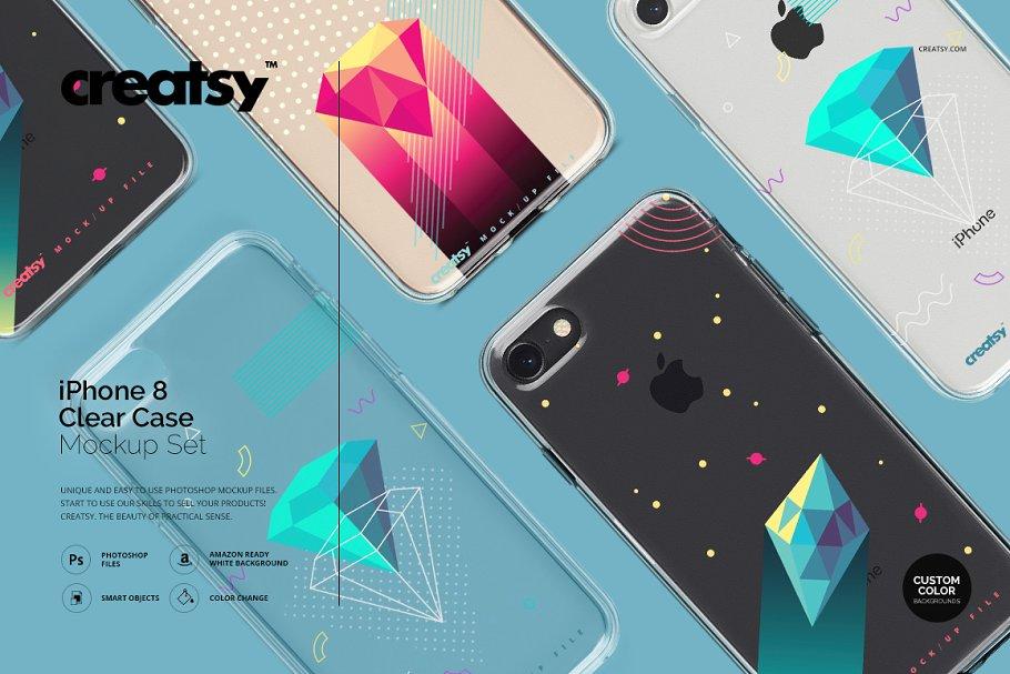 bc5e1d8ddaa6d4 iPhone 8 Clear Case Mockup Set ~ Product Mockups ~ Creative Market