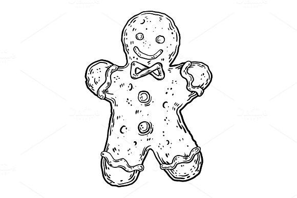 Cookie man engraving vector illustration