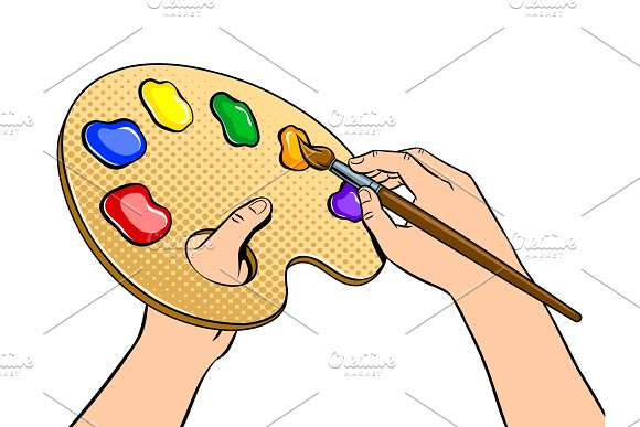 Palette with paints in artist hands pop art vector