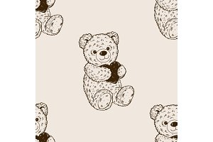 Teddy bear seamless pattern engraving vector