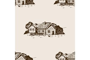Rural landscape seamless pattern engraving vector