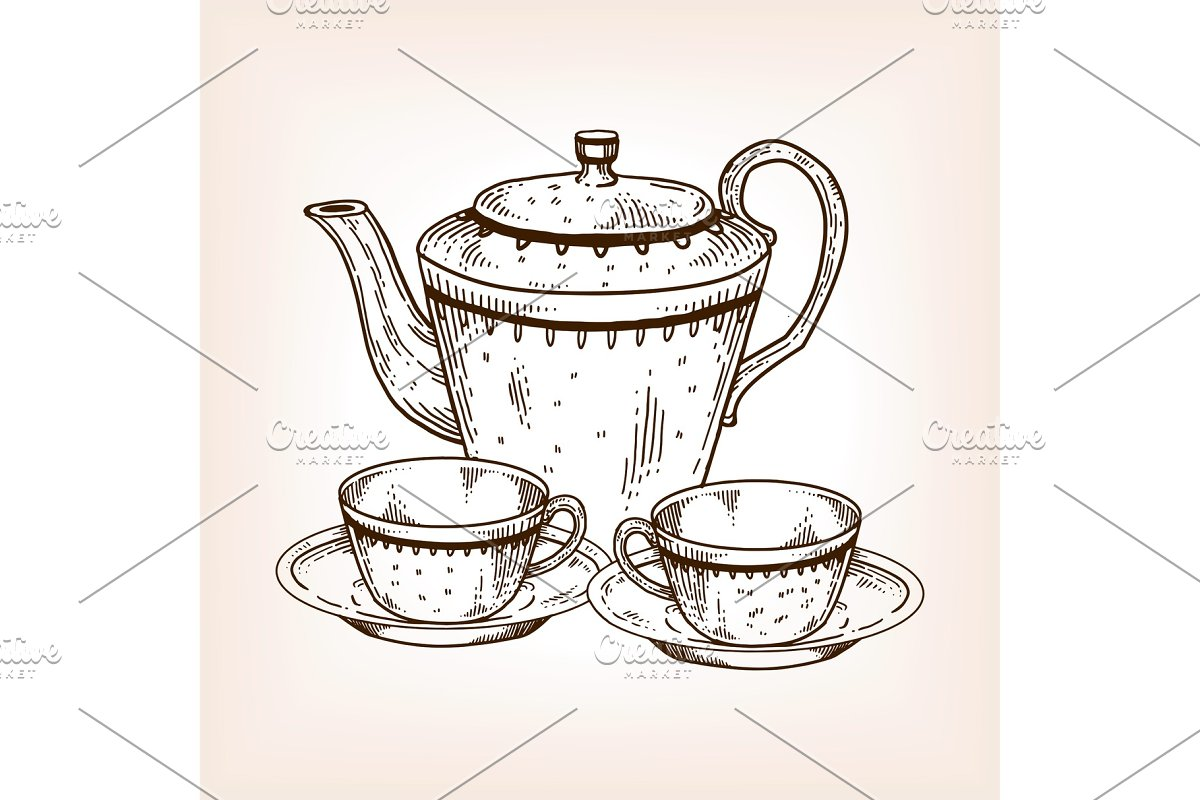 Tea set utensil engraving vector illustration