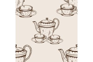 Tea set utensil seamless pattern engraving vector