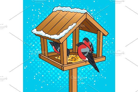 Winter bird feeder pop art vector illustration