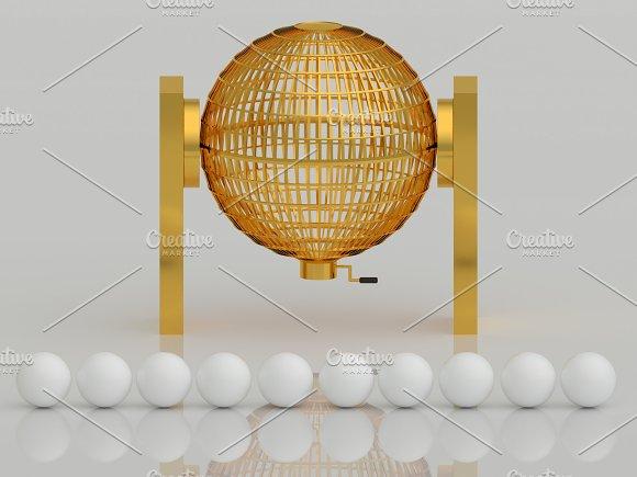 Golden lottery cage. Lotto. Bingo