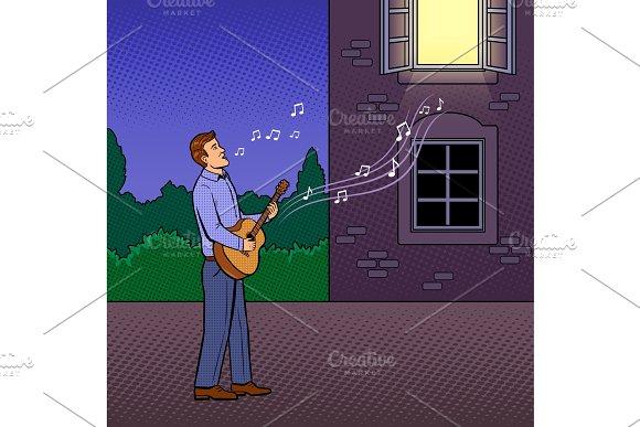 Man sings serenade pop art vector illustration in Illustrations