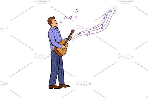 Man sings song pop art vector illustration