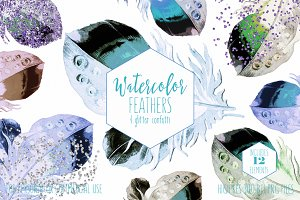 Chic Watercolor Feather Clipart