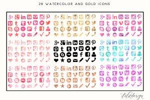 Feminine Watercolour + Gold Icons