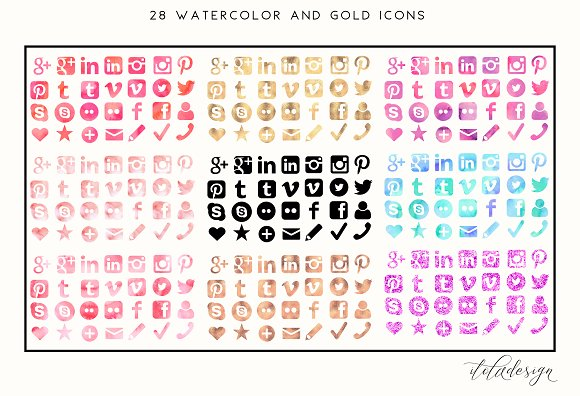 Feminine Watercolour + Gold Icons