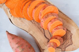 Raw fresh sliced sweet potato
