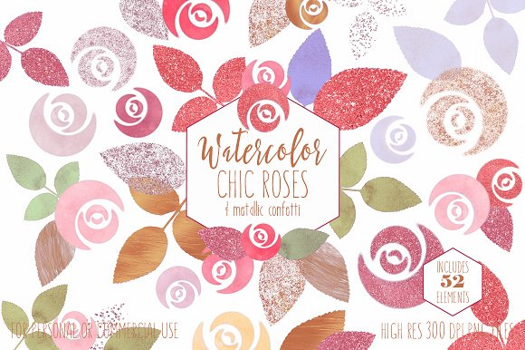 Blush & Rose Gold Roses Graphics