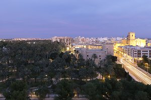 Views of Elche city at sunset.