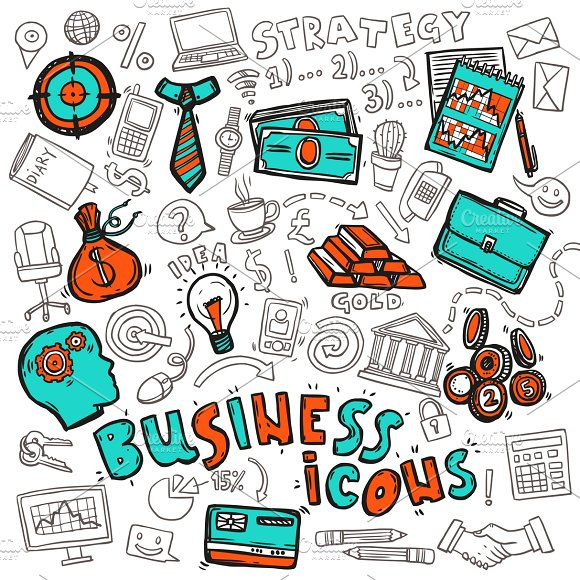 Business strategy concept icons