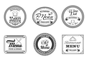 Retro restaurant menu labels set