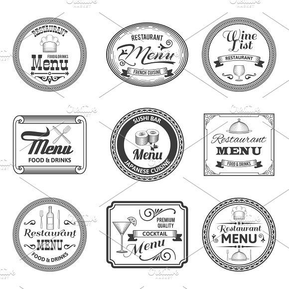Retro restaurant menu labels set
