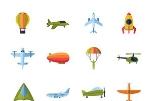 Aircraft flat icons set