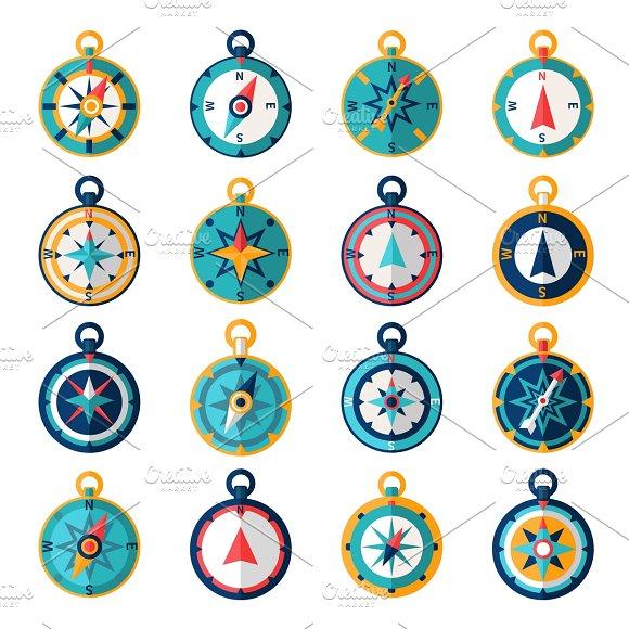 Compass icon flat set