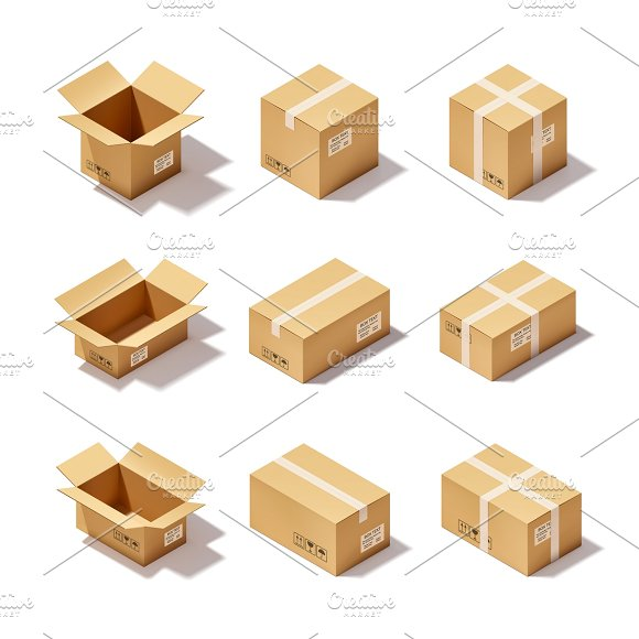 Open and closed cardboard icons set