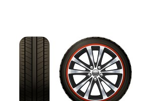 Realistic car wheel set
