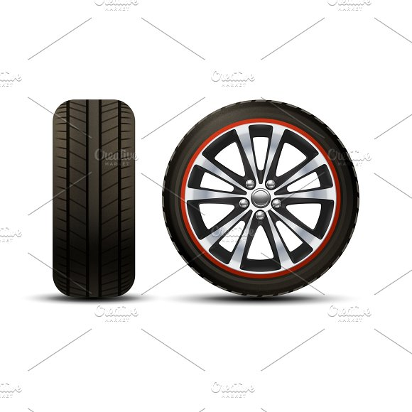 Realistic car wheel set