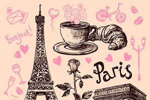 Paris hand drawn symbols set