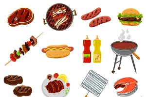 Barbecue and grill icons set
