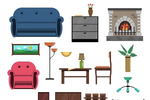 Interior icons flat set