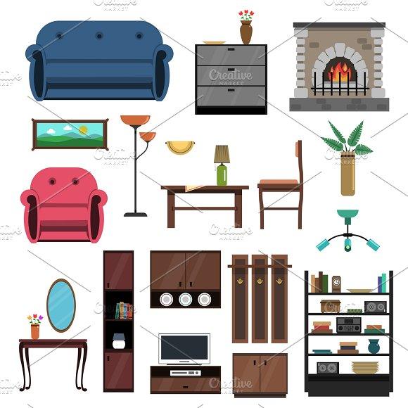 Interior icons flat set in Graphics