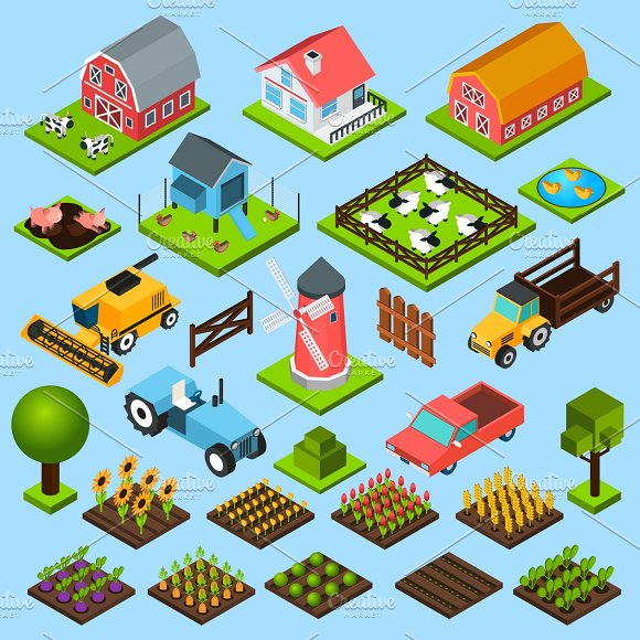 Farm isometric icons set