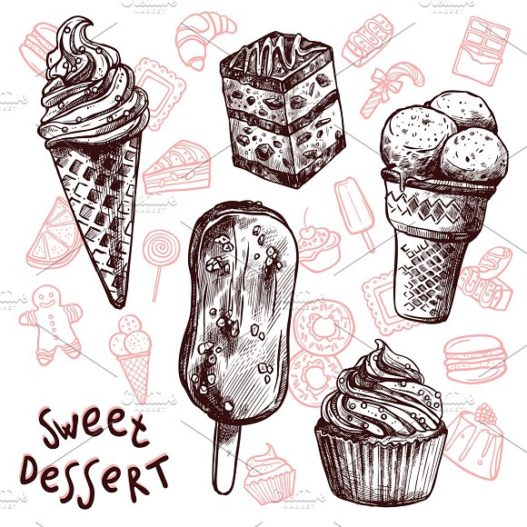 Ice cream and cakes sketch set