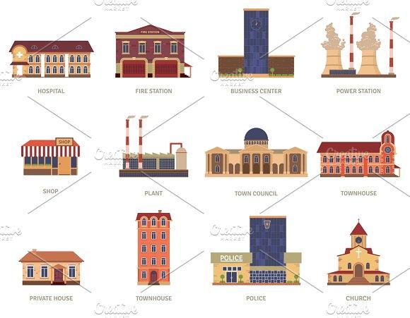 City buildings vintage icons set