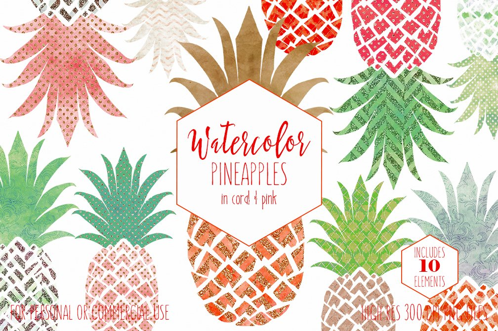 Watercolor Pineapples & Rose Gold ~ Illustrations ...