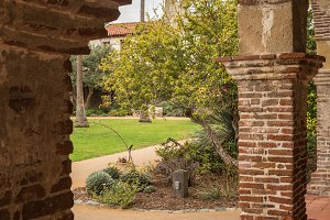 Old cloisters in San Juan Capistrano mission