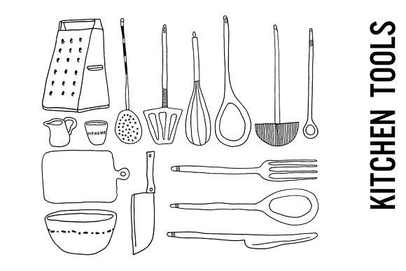 Kitchen Tools Doodle Clipart