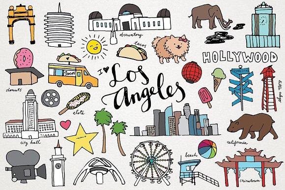Los Angeles Hand Drawn Illustrations