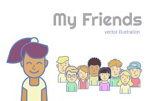 My Friends. Vector illustration