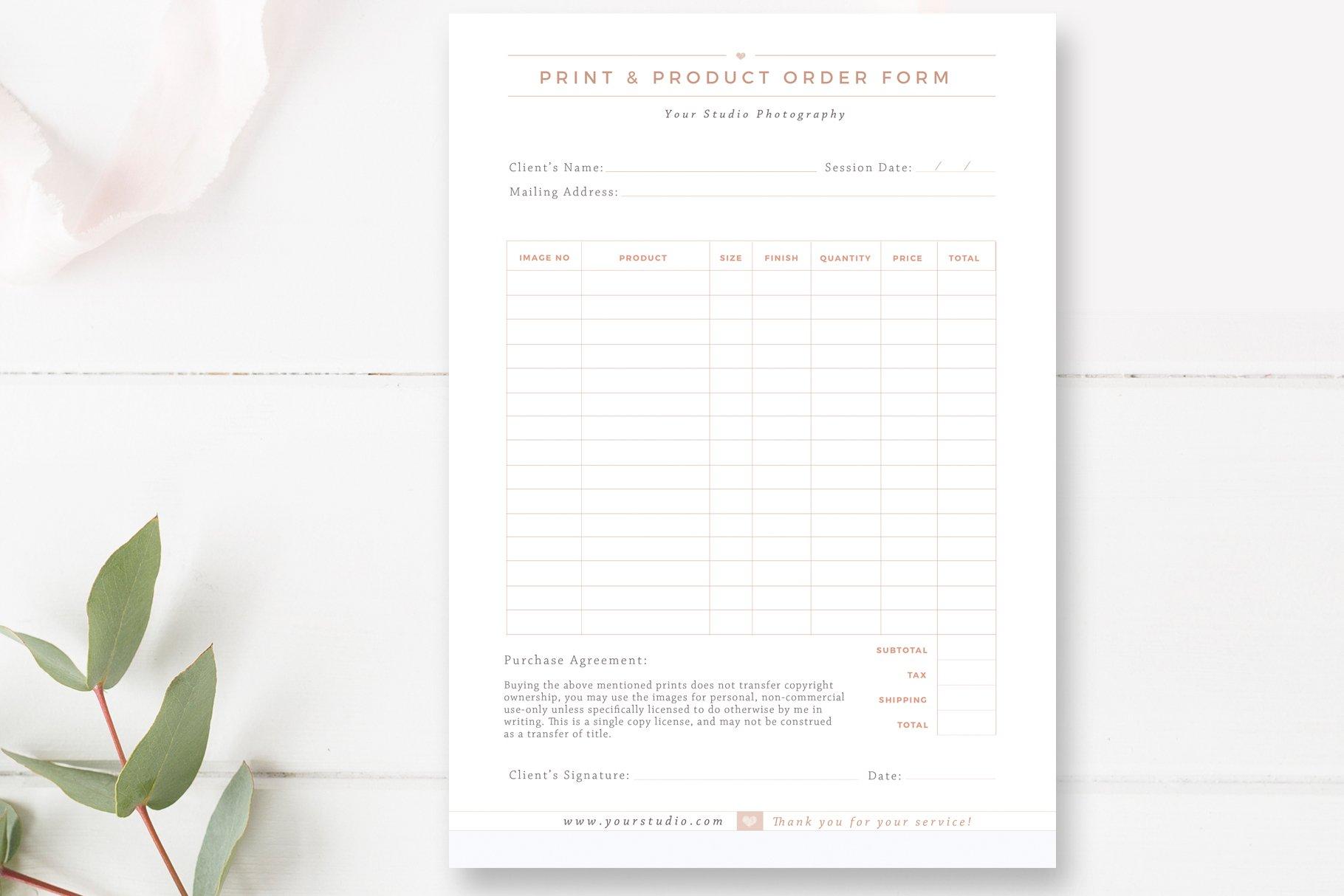 Print Product Order Form Creative Photoshop Templates Creative Market