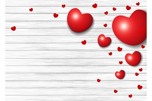 Red heart on white wood background