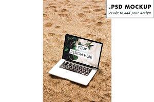 Digital nomad beach computer mockup