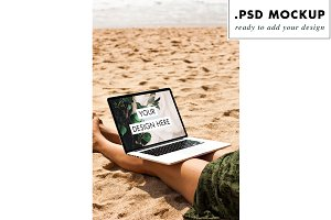 Photoshop file computer at the beach