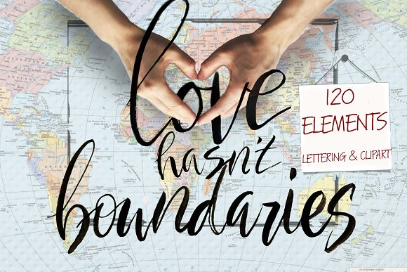 Love hasn't boundaries-lettering set