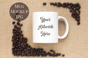 Mug Mockup - Coffee beans & hessian