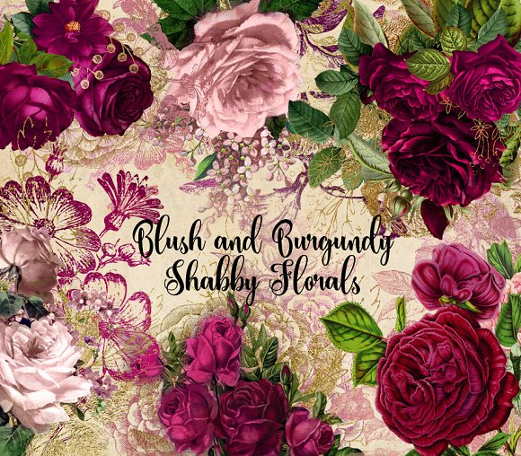 Blush Pink and Burgundy Florals