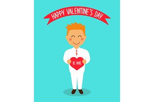 Cute Valentine's Day card with funny cartoon characters of loving boy with heart in hands